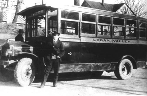 First bus on Altoona & Logan Valley  Electric Railway Fairview route with Driver Herman Darr