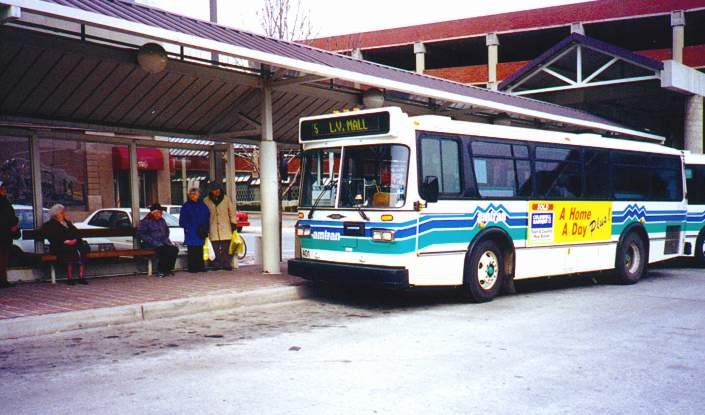 Customer boarding the bus at AMTRANs bus platform at the downtown Altoona Transit Center
